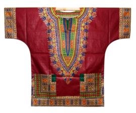 Afrikaans DASHIKI shirt ANGELINA DARK RED | african Wax Java Print van VLISCO | unisex