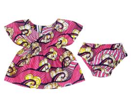 DASHIKI SET BABY GIRL ROSE | jurkje + luierbroekje | Vlisco Super-Wax | maat 62/68 = 4-6 maanden