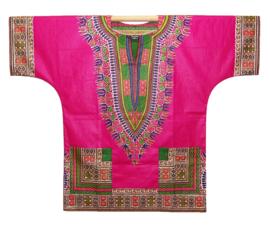 Afrikaans DASHIKI shirt ANGELINA PINK | african Wax Java Print van VLISCO | unisex