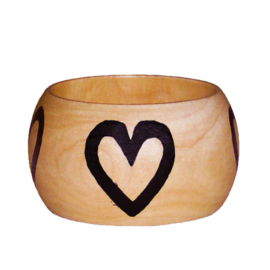 BANGLE PATIENCE | 4,8 cm brede houten armband met West-Afrikaans Adinkra Symbool