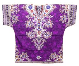 AFRICAN DASHIKI SHIRT etnische print VIOLET | unisex zomer party festival blouse
