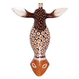 GIRAFFE masker 53 cm | houten afrikaans dierenmasker (#GB)