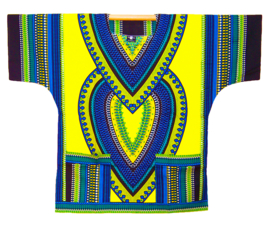 AFRIKAANS DASHIKI SHIRT heart LICHTGEEL | unisex zomer party festival blouse