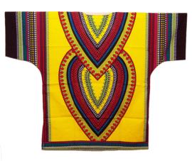 AFRIKAANS DASHIKI SHIRT heart DONKERGEEL | unisex zomer party festival blouse