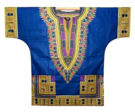 Afrikaans DASHIKI shirt ANGELINA BLUE-PURPLE | african Wax Java Print van VLISCO | unisex