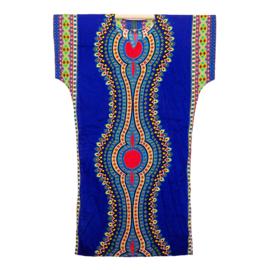 AFRIKAANS DASHIKI SHIRT LANG mozaiek DONKERBLAUW | zomer party festival kaftan