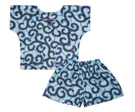 DASHIKI SET BOY BLUE | shirt + short | afrikaanse wax print | maat S = 1-2 jaar