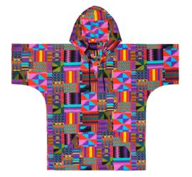 DASHIKI hoodie KENTE PAARS   african Wax Print met Ghana patronen   unisex   maat L