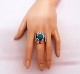 RING TURQUOISE #7 tibetaans zilver met turquoise steen
