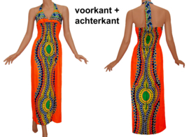 AFRICAN GYPSY HALTERJURK mozaiek TURQUOISE | sexy lange jurk in 3 maten