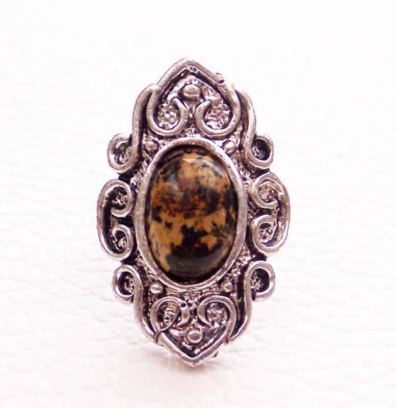 RING BRUIN #1 tibetaans zilver met bruine steen