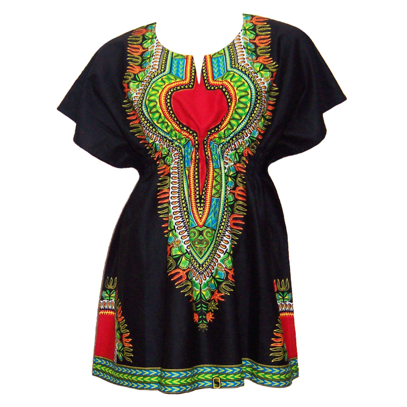 Afrikaanse dashiki jurk ZWART-ROOD | kaftan-jurkje met elastische taille | african Wax Print