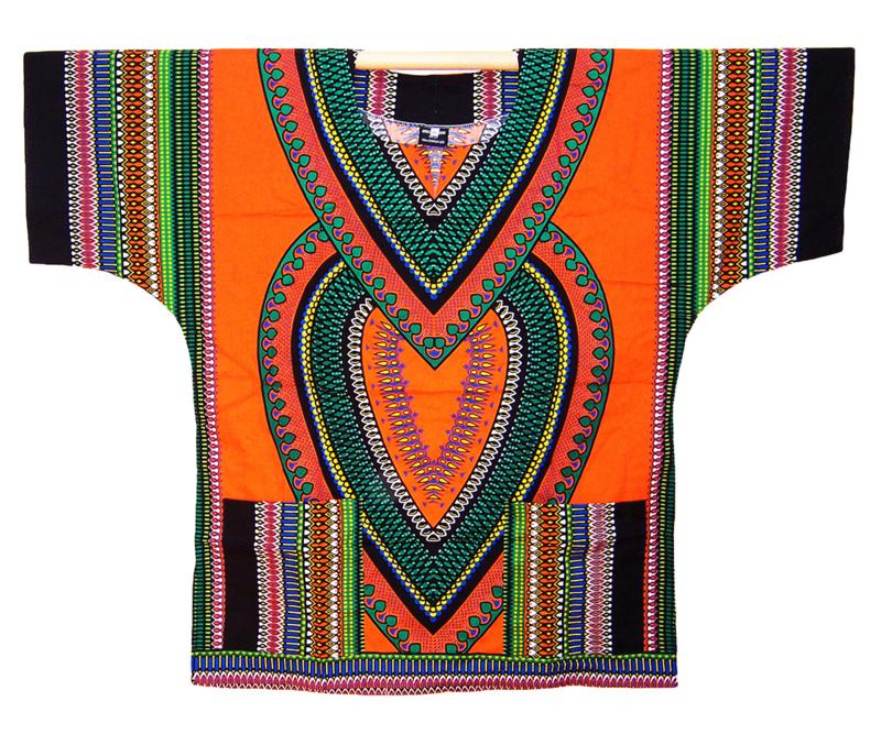 AFRIKAANS DASHIKI SHIRT heart ORANJE   unisex zomer party festival blouse