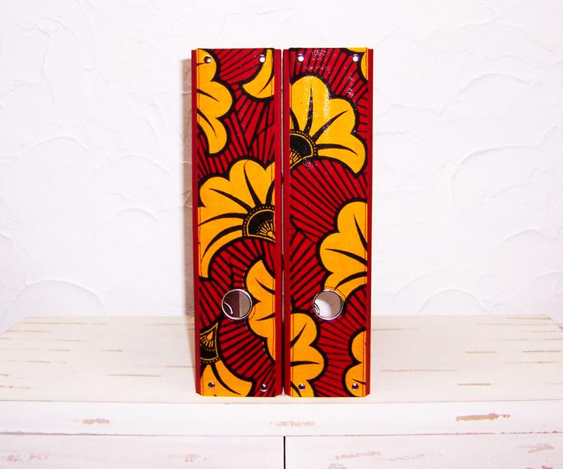 Ordners DONKERROOD met afrikaanse wax print | 8 cm breed | set van 2