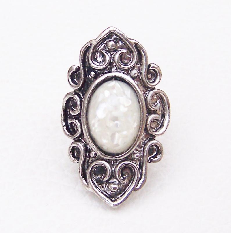 RING NATUREL #1 tibetaans zilver met abalone schelp