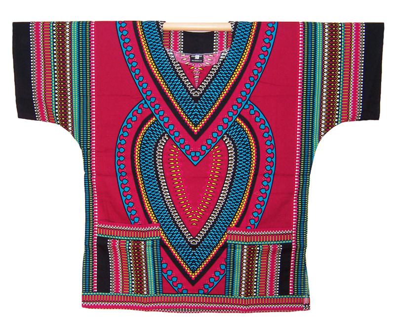 AFRIKAANS DASHIKI SHIRT heart DONKERROOD | unisex zomer party festival blouse