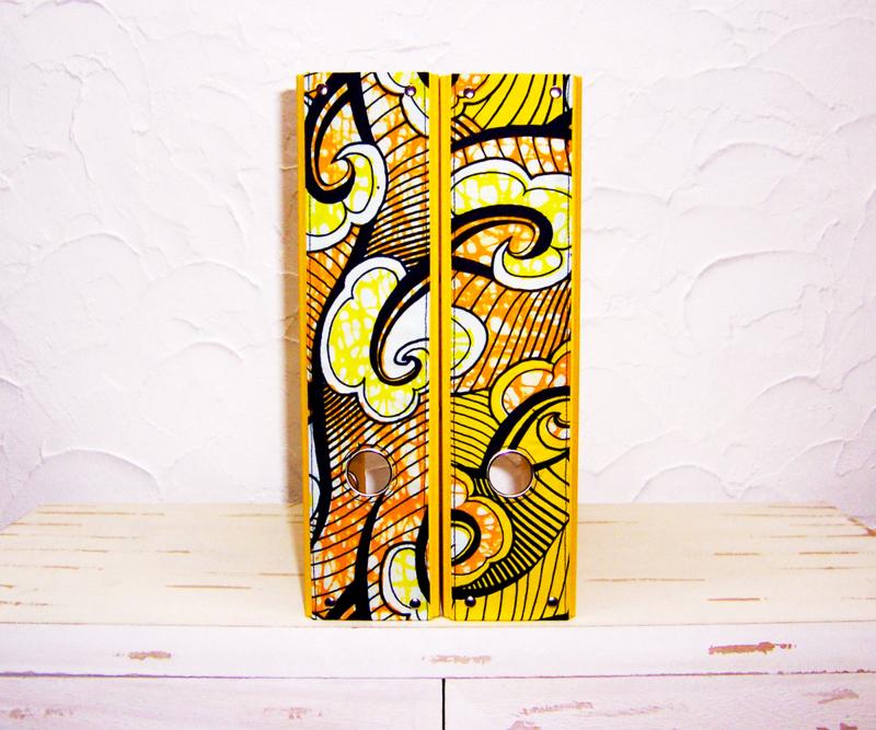 Ordners GEEL met rug van afrikaanse wax print | 8 cm breed | set van 2
