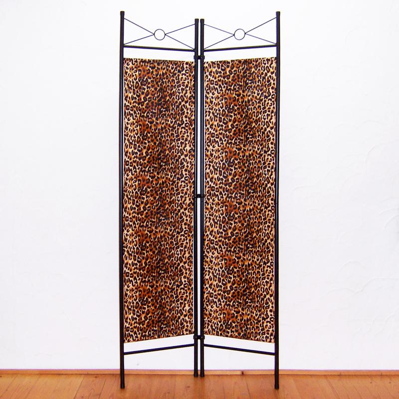 Kamerscherm LEOPARD bruin   2-delig, vouwbaar   room divider   180 cm x 80 cm