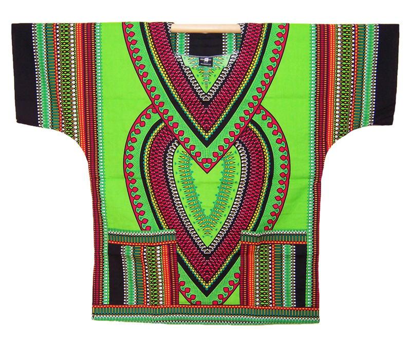 AFRIKAANS DASHIKI SHIRT heart LIME GROEN | unisex zomer party festival blouse