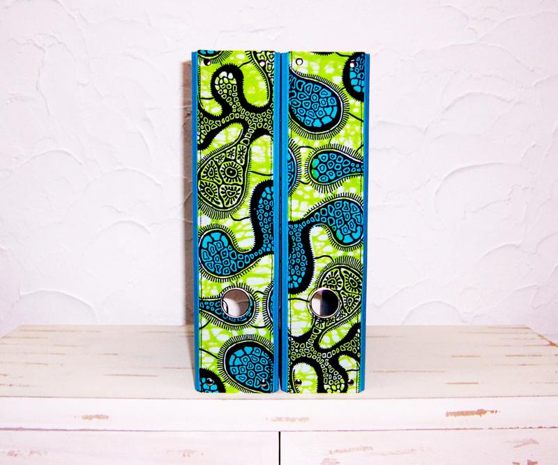 Ordners TURQUOISE met afrikaanse wax print   8 cm breed   set van 2