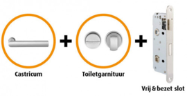 CANDO DALFSEN RVS INDUSTRIAL DEURBESLAG BESLAGPAKKET INCL. TOILETGARNITUUR EN TOILETSLOT ( CANHP304 )