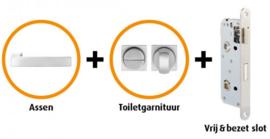 CANDO BAARN RVS INDUSTRIAL DEURBESLAG BESLAGPAKKET INCL. TOILETGARNITUUR EN TOILETSLOT ( CANHP302 )