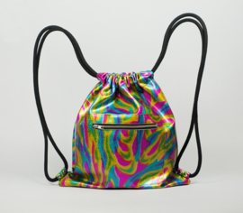 OIL SLICK METALLIC DRAWSTRING BACKPACK