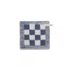 Knit Factory Pannenlap Grote Blok 2 Kleuren Ecru/Jeans