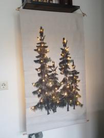 2 Kerstbomen op doek met verlichting