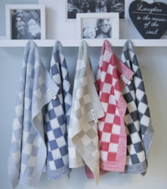 Knit Factory Theedoek Grote Blok 2 Kleuren Ecru/Jeans