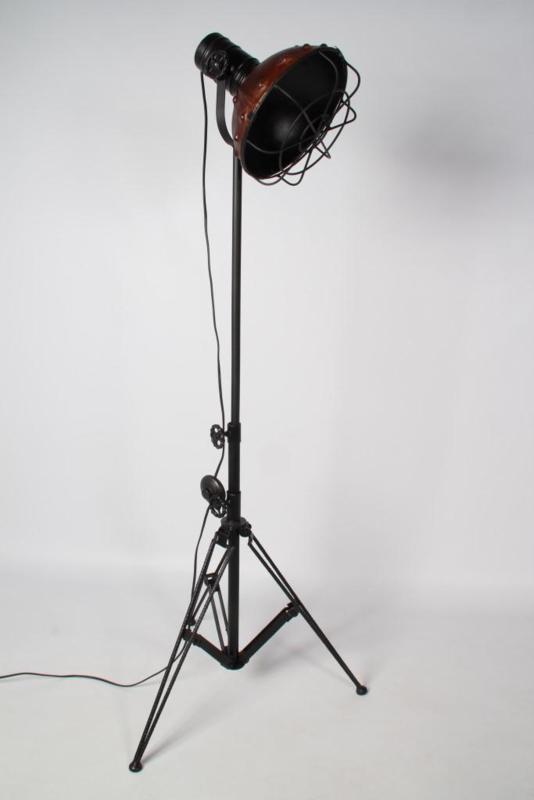 Berlijn Vloerlamp zwart ijzer + bruin Leer