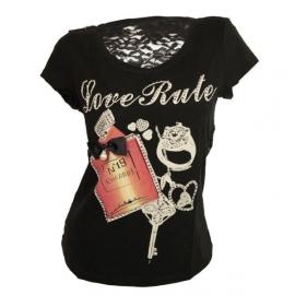 T-shirt met kant /zwart