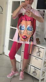 T-shirt met gezicht/Roze