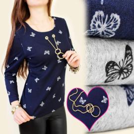 Shirt met ketting/vlinder print