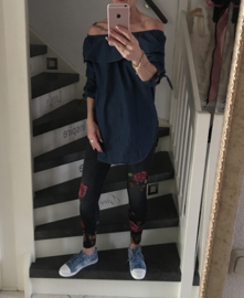 Jeans tuniek off shoulder/ruches
