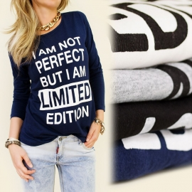 T-shirt met lange mouw I am not perfect