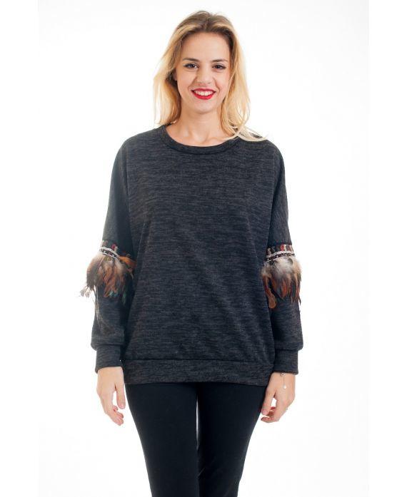 Sweater met veren Zwart
