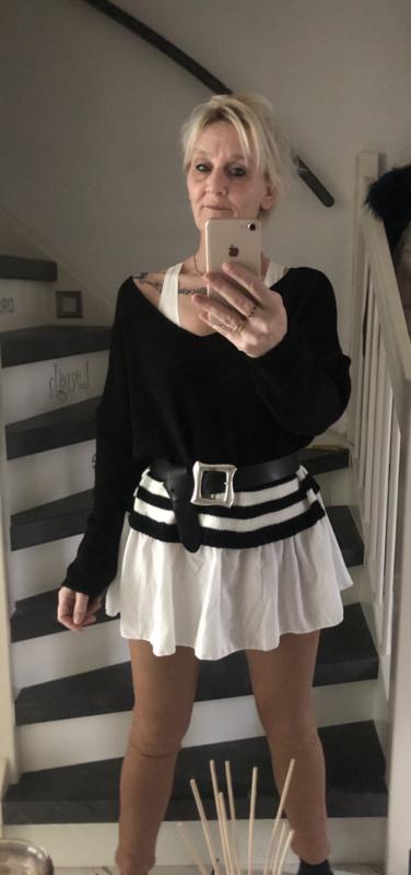 Trui met blouse rand /zwart