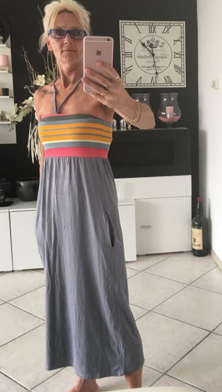 lange strapless jurk/grijs