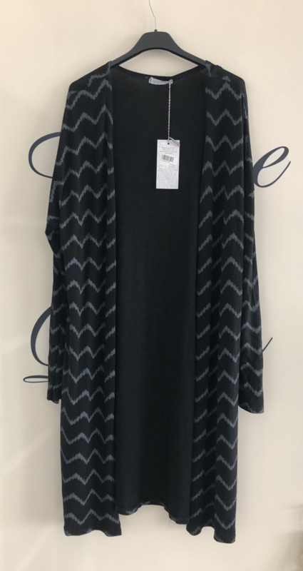 Lang vest zigzag zwart