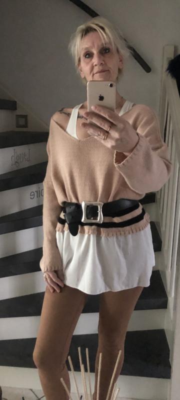 Trui /roze met blouse rand