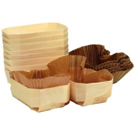 Broodvorm Hout 8-Hoekig Met Bakpapier