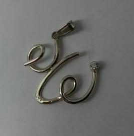 Witgouden letter hanger