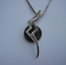 Astrostijl zilveren Waterman hanger met edelsteen