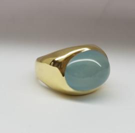 Ring met aquamarijn en as