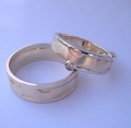 Partnerringen in bi color goud