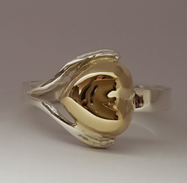 Ring zilver met gouden hart met as