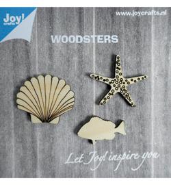 houten figuren: zeester-schelp-vis