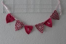 Vlaggetjeslijn roze/wit