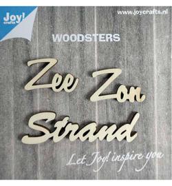 houten woorden: Zon, Zee, Strand